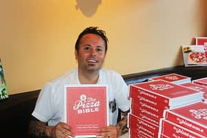 Tony Gemignani with the Pizza Bible
