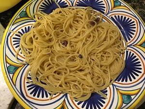 Finished aglio olio garlic anchovy pasta