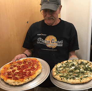 Albert with pizza